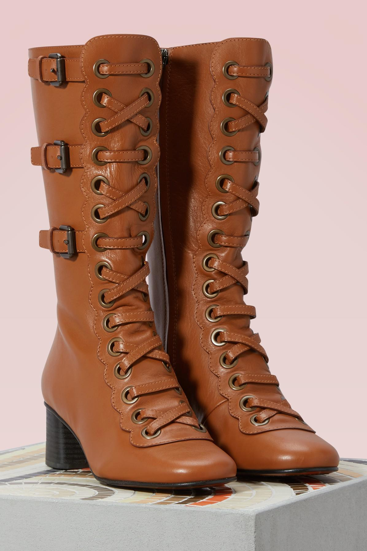 Chloé Orson Boots in Brown - Lyst