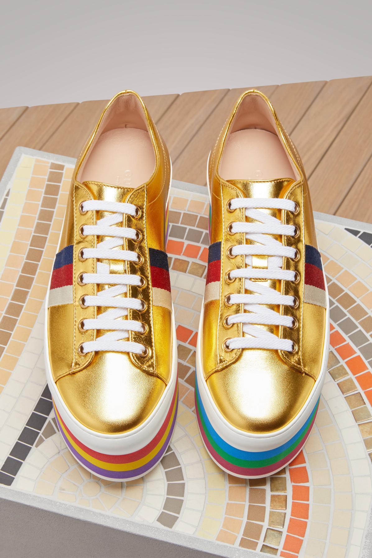 f682b625c77 Gucci Metallic Leather Platform Sneaker in Metallic - Lyst