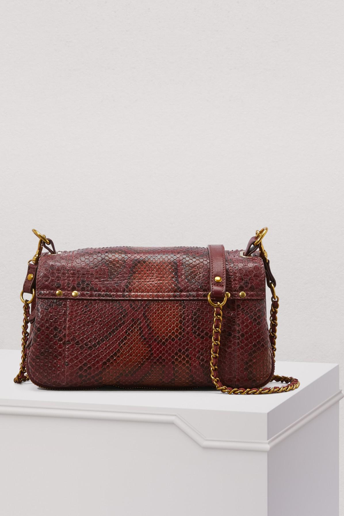 Jérôme Dreyfuss Leather Bobi Python Crossbody Bag