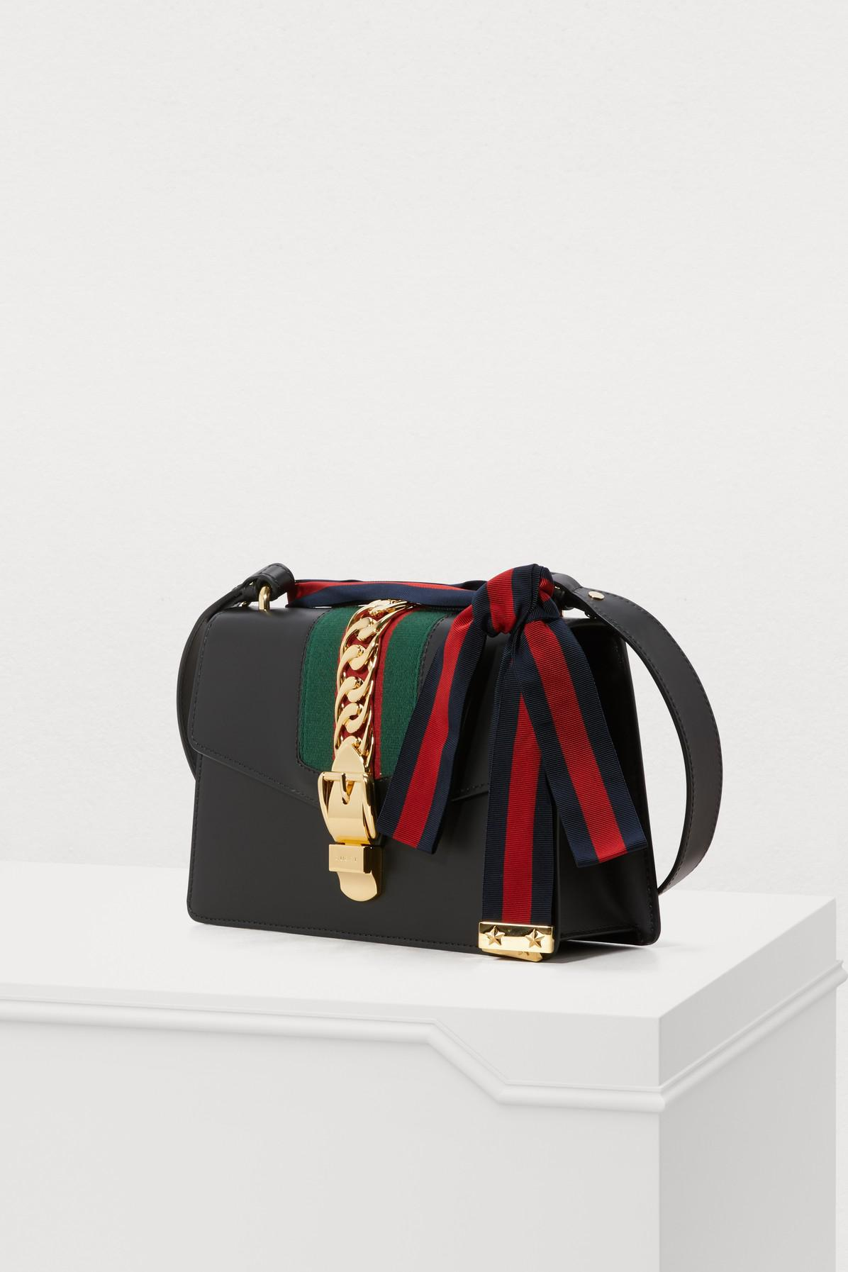 ca8ede46cc9b Gucci - Black Sylvie Leather Shoulder Bag - Lyst. View fullscreen
