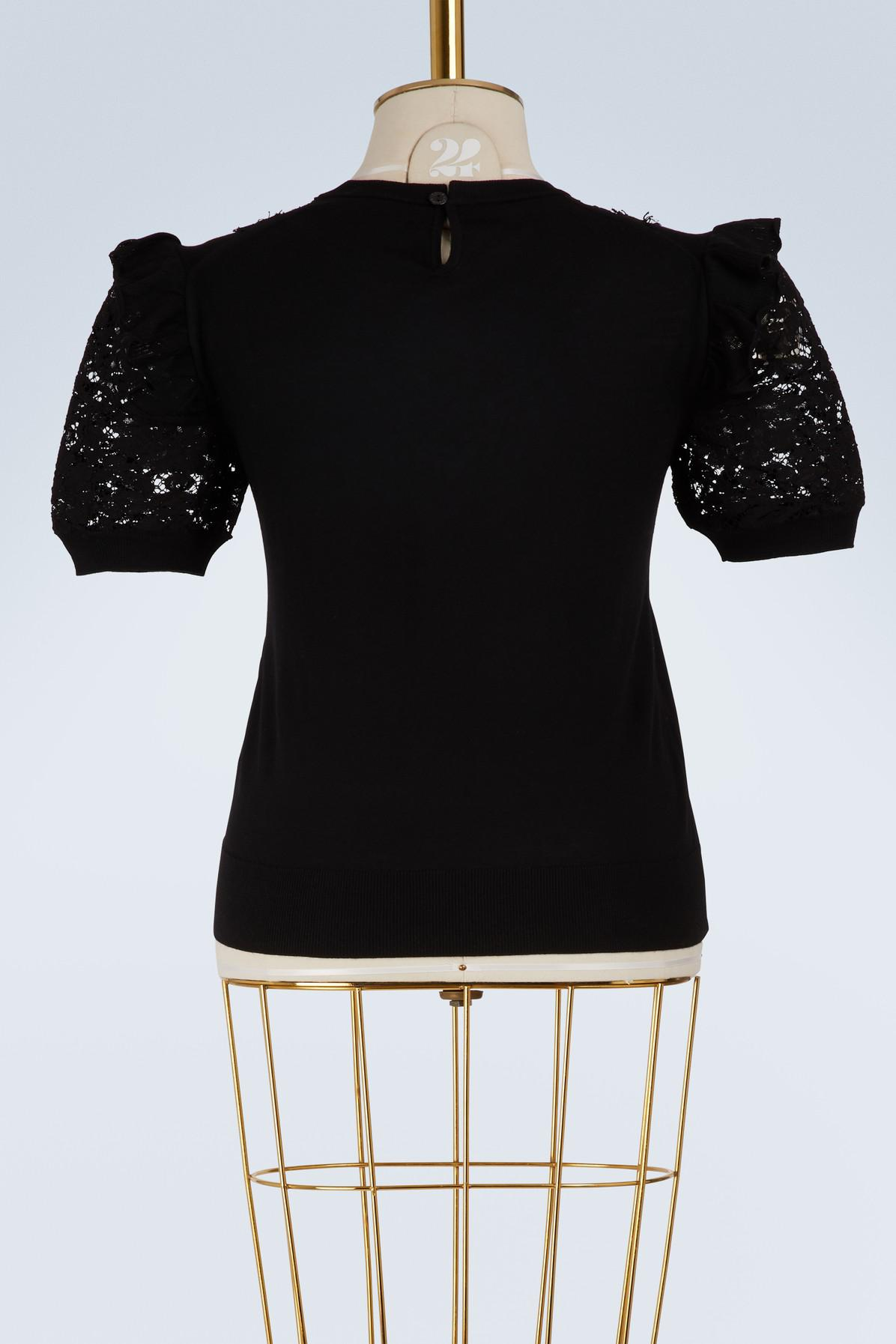 Dolce & Gabbana Lace And Wool Sweater in Black