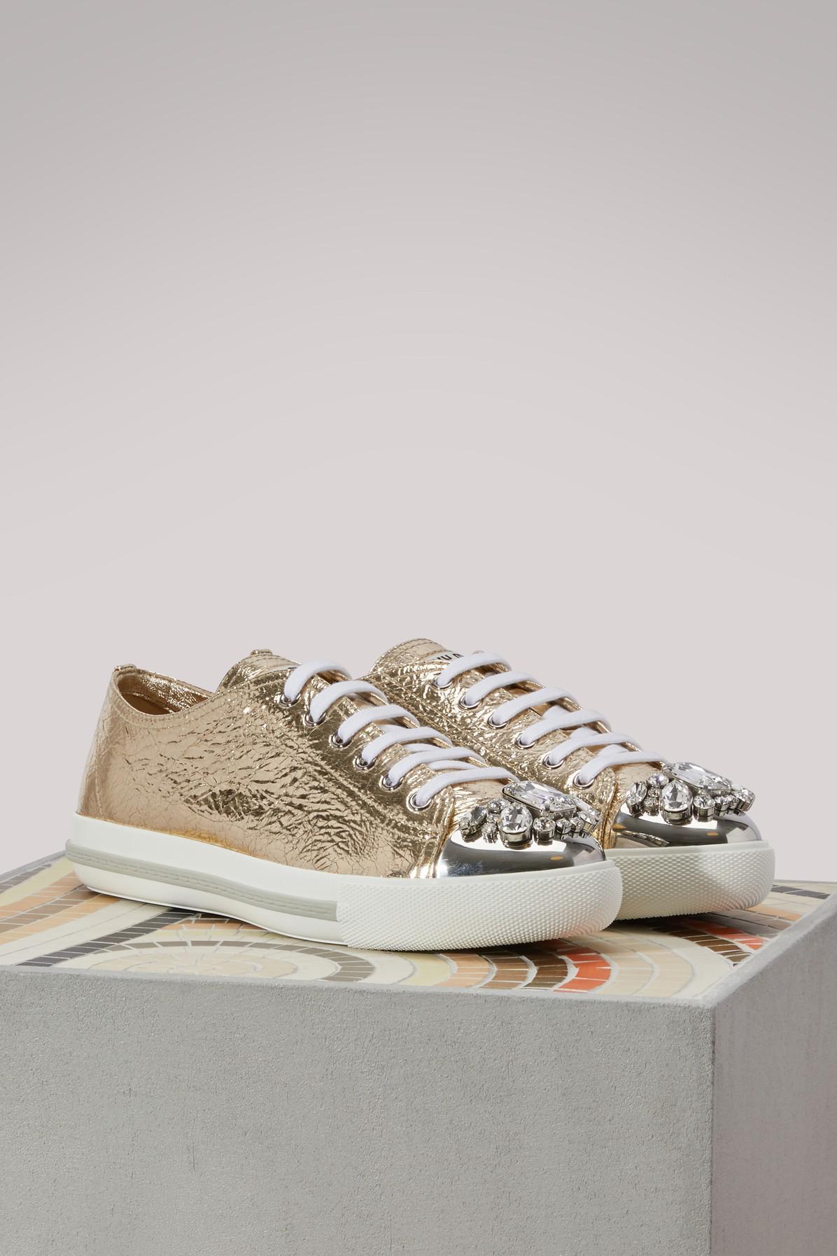 Miu Miu Gold Leather Sneakers in Metallic