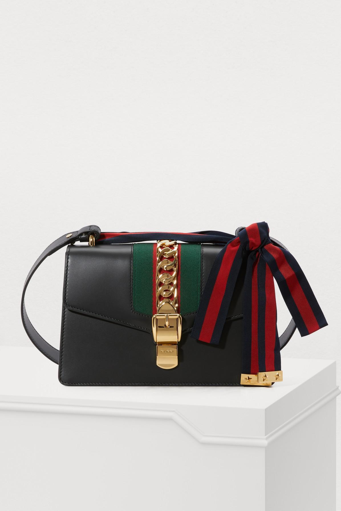 c1475f766d35 Gucci Sylvie Leather Shoulder Bag in Black - Lyst