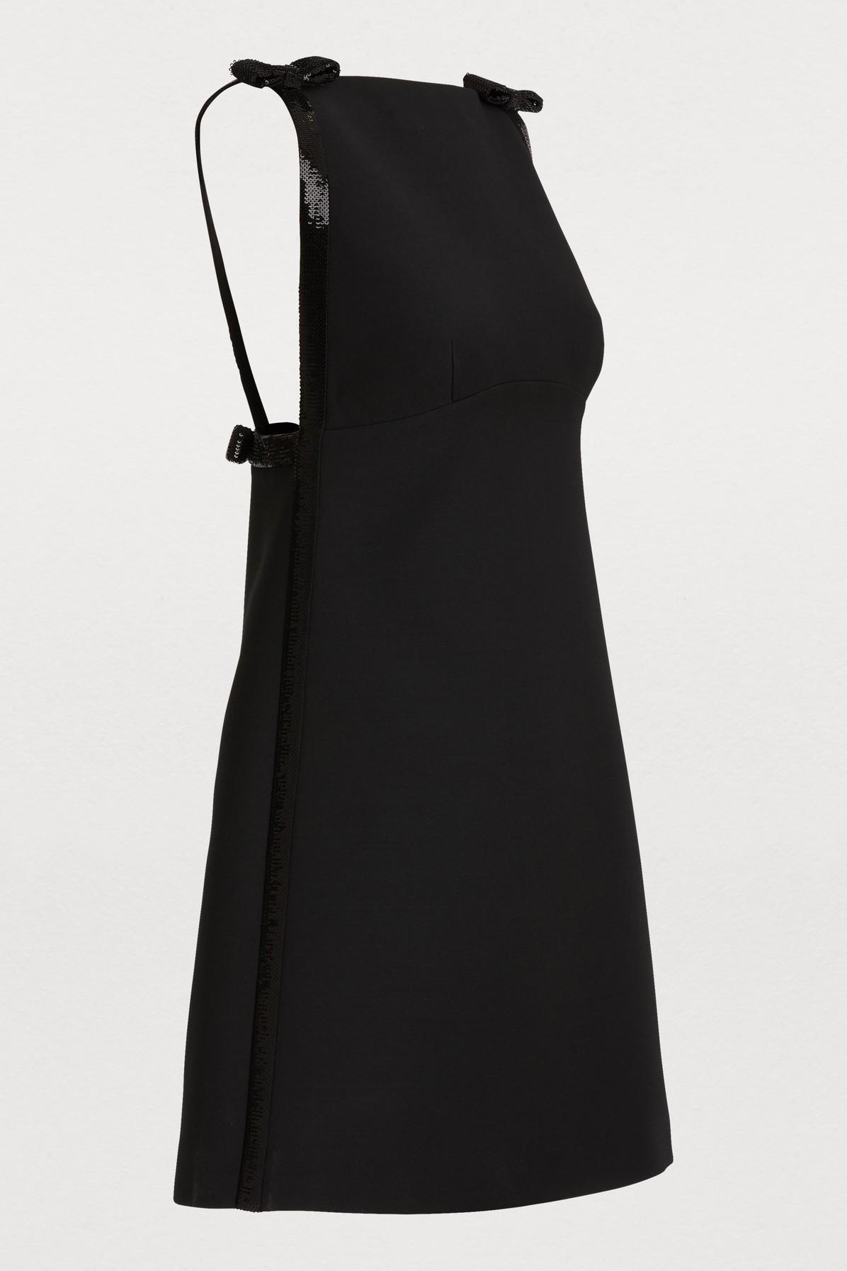 f3062136daf Miu Miu - Black Wool And Silk Mini Dress - Lyst. View fullscreen