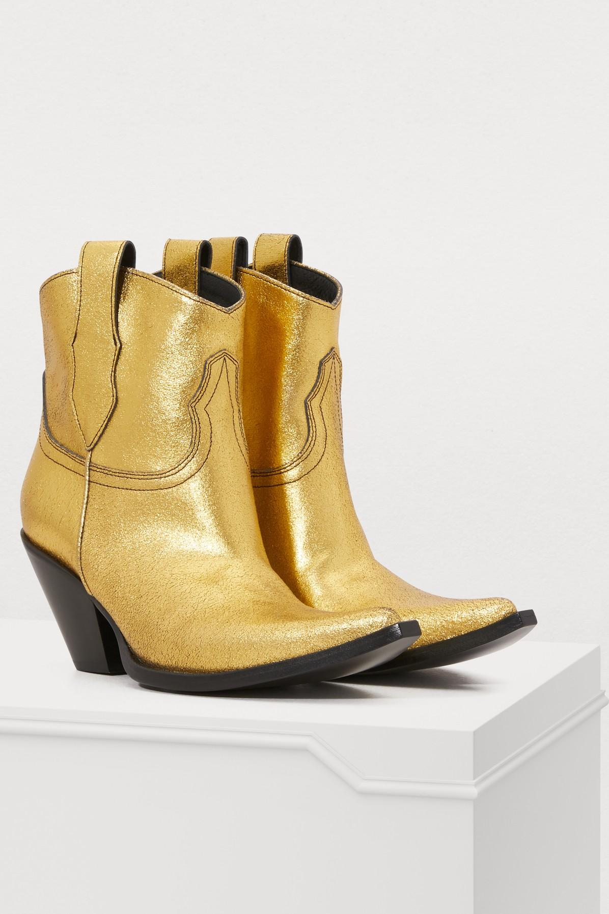 Maison Margiela Denim Mexas Ankle Boots in Gold (Metallic)