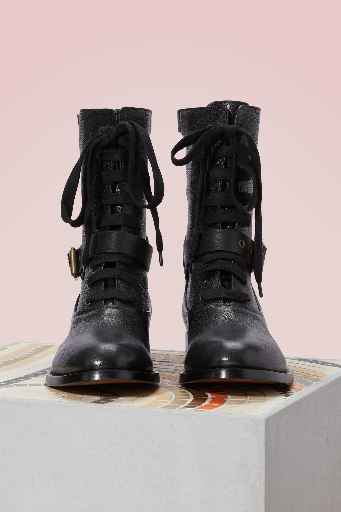 a23129a2 Chloé Black Otto Lace-up Ankle Boots