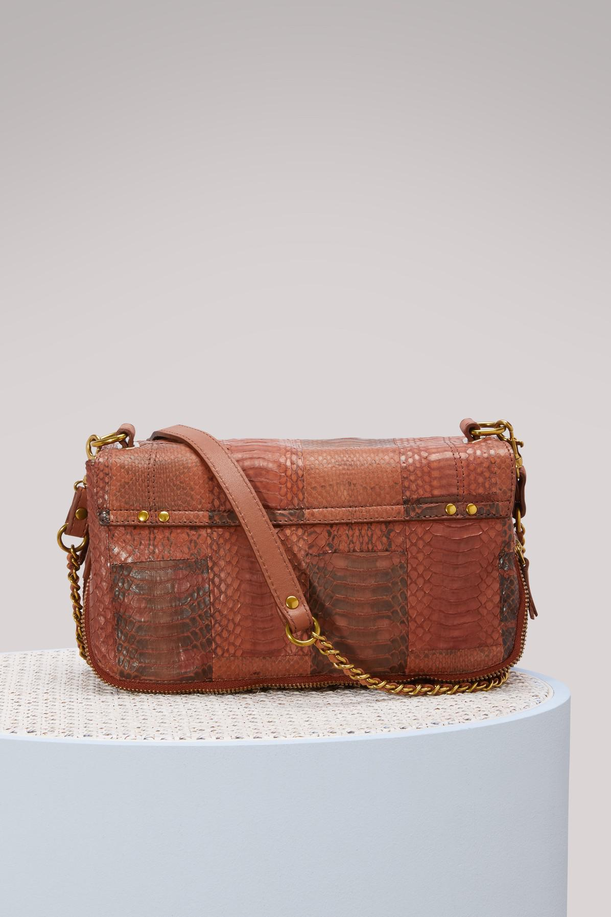 Jérôme Dreyfuss Leather Snake And Lambskin Bobi Crossbody in Patchwork (Brown)