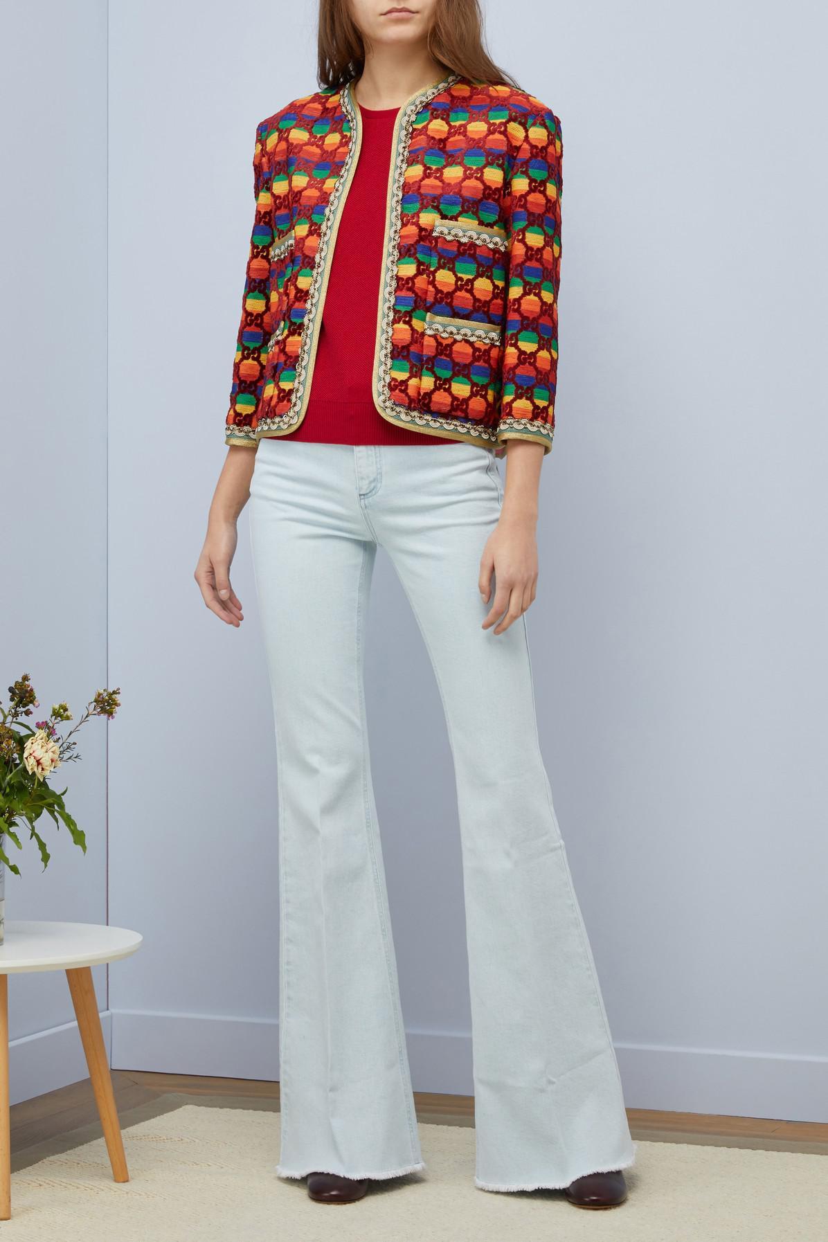 a3b8e61a6 Gucci GG Rainbow Velvet Jacket - Lyst