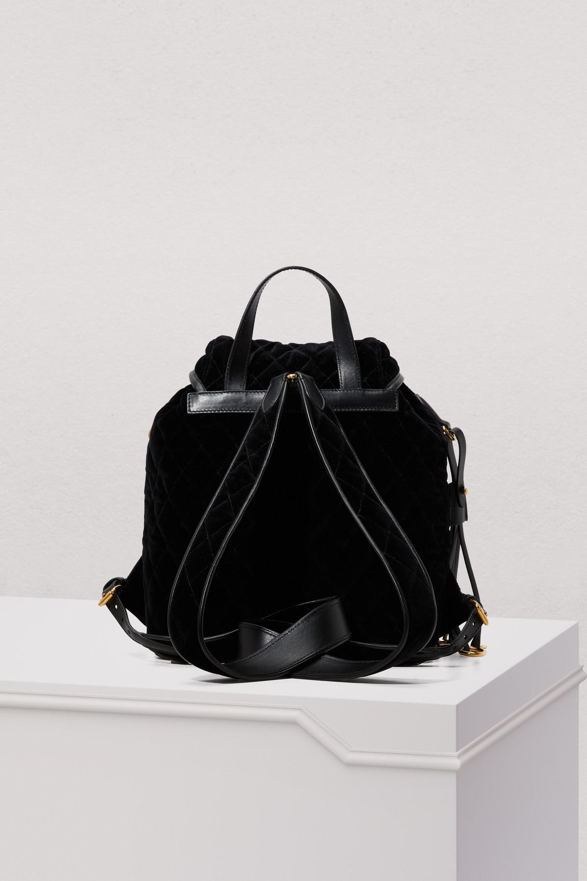 bde26c565e5b Prada Velvet Backpack in Black - Lyst