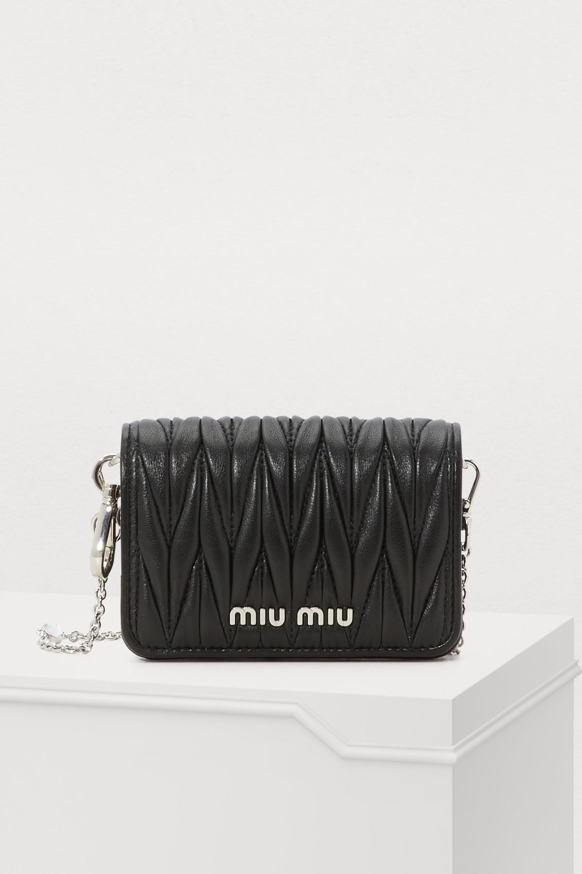 87086e8f693d Lyst - Miu Miu Small Wallet On Chain in Black