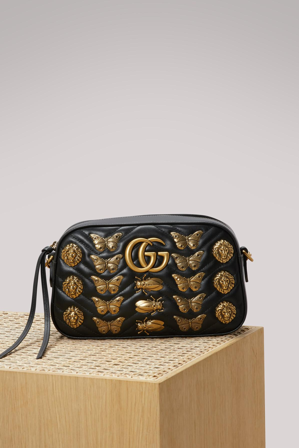 d1f271f16a6d Gucci Gg Marmont Animal Studs Shoulder Bag in Black - Lyst