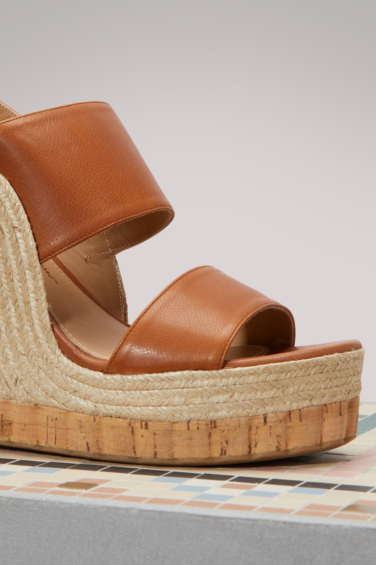 8cb37a1f850 Lyst - Ferragamo Maratea Wedge Sandals in Brown