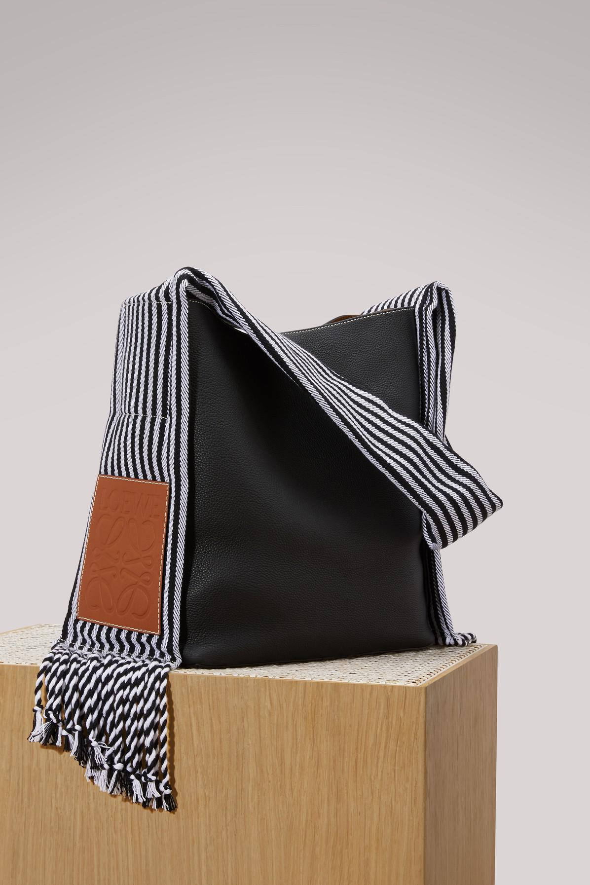 Scarf Bucket Bag in Black Soft Grained Calf and Cotton Loewe