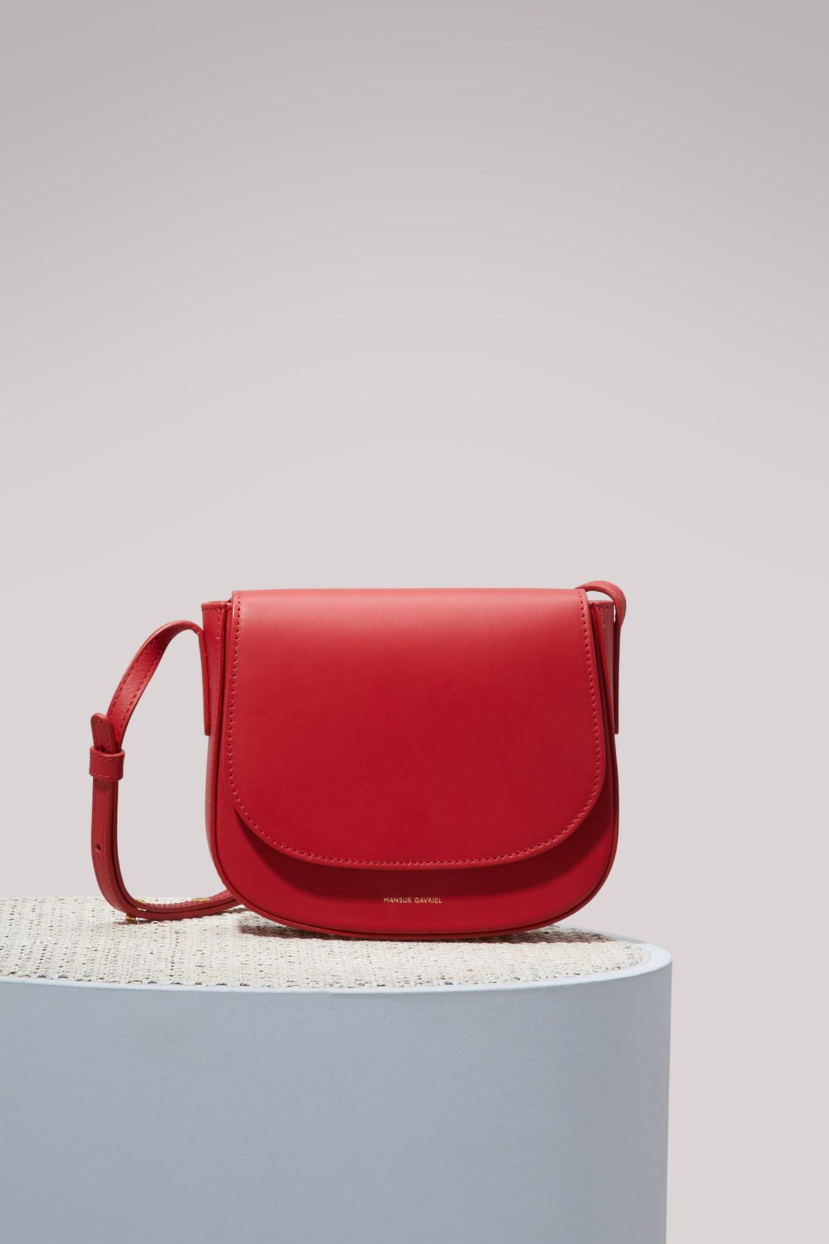bafaa2b348e7 Lyst - Mansur Gavriel Calfskin Leather Mini Crossbody Bag in Red