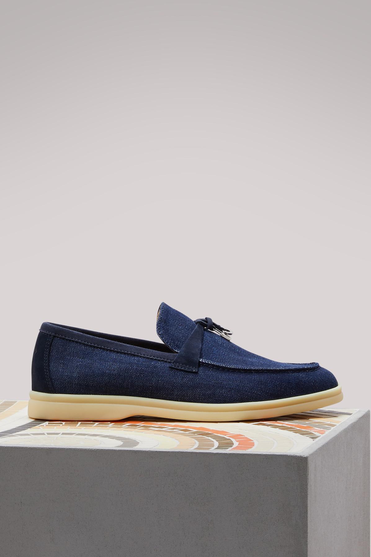206dbfec4d7 Lyst - Loro Piana Summer Charm Denim Slippers in Blue