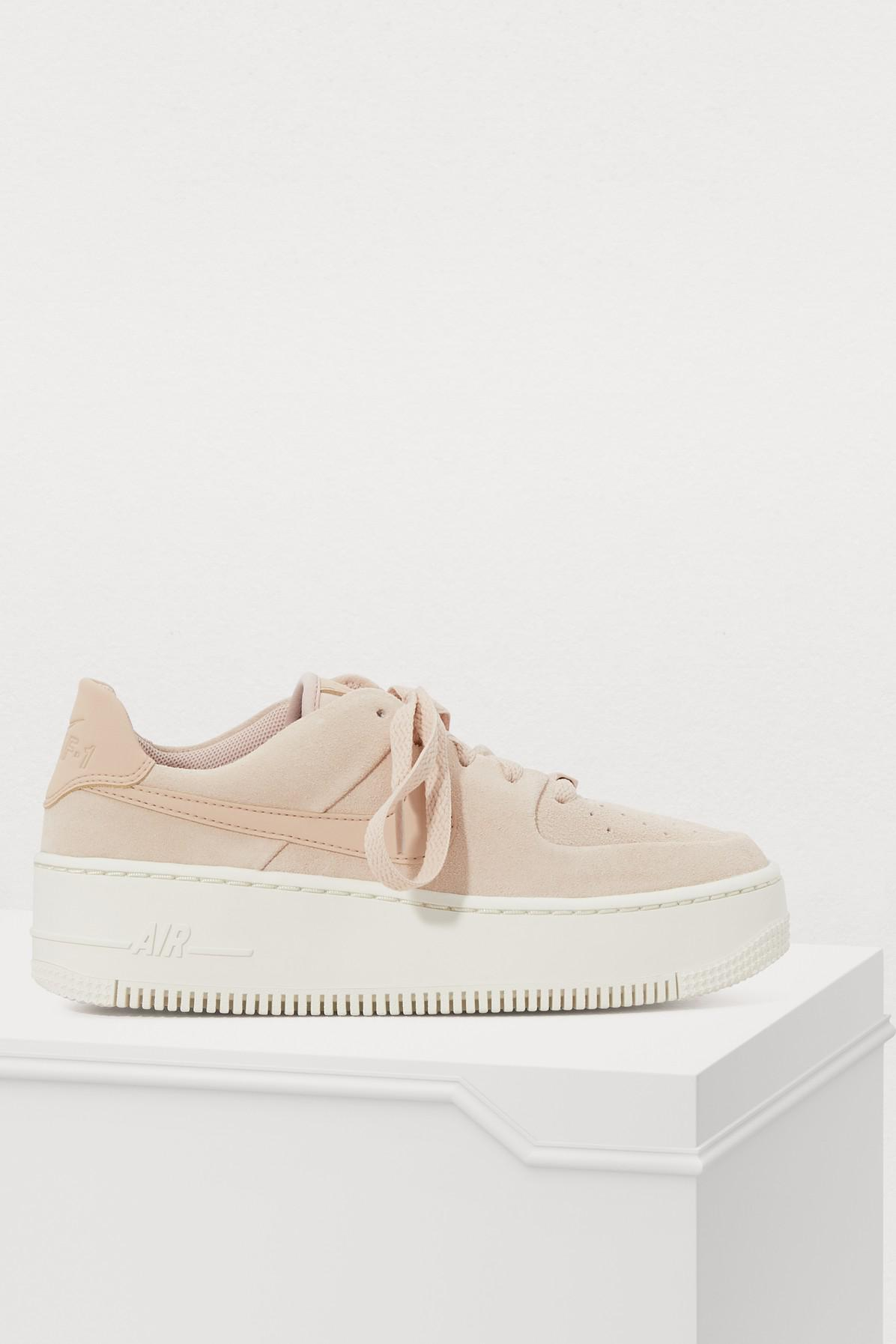 Nike Leather Air Force 1 Sage Low Sneakers in Particle Beige ...