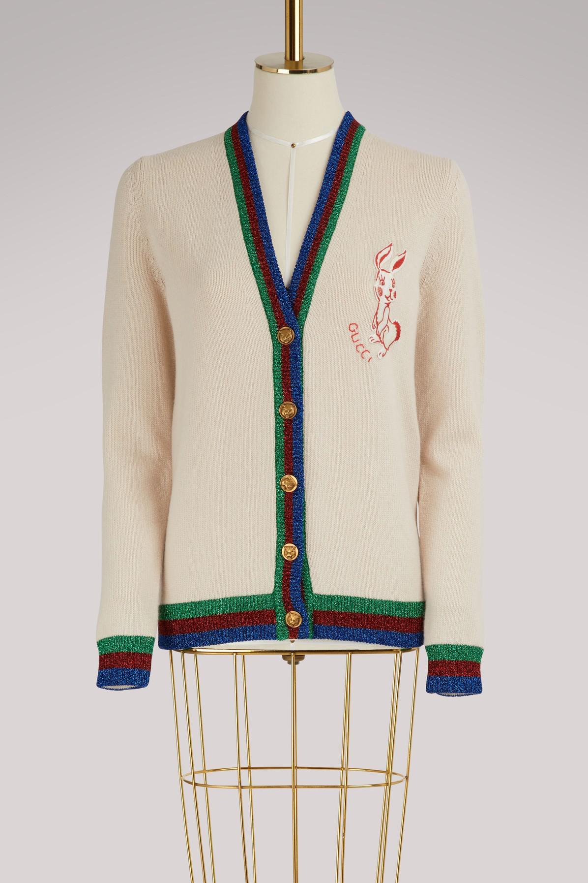 f07e4e2b3 Gucci Web Rabbit Wool Cardigan in White - Lyst