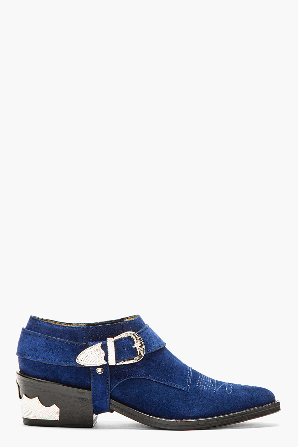 Toga pulla Indigo Blue Suede Western Buckle Ankle Boot in Blue   Lyst