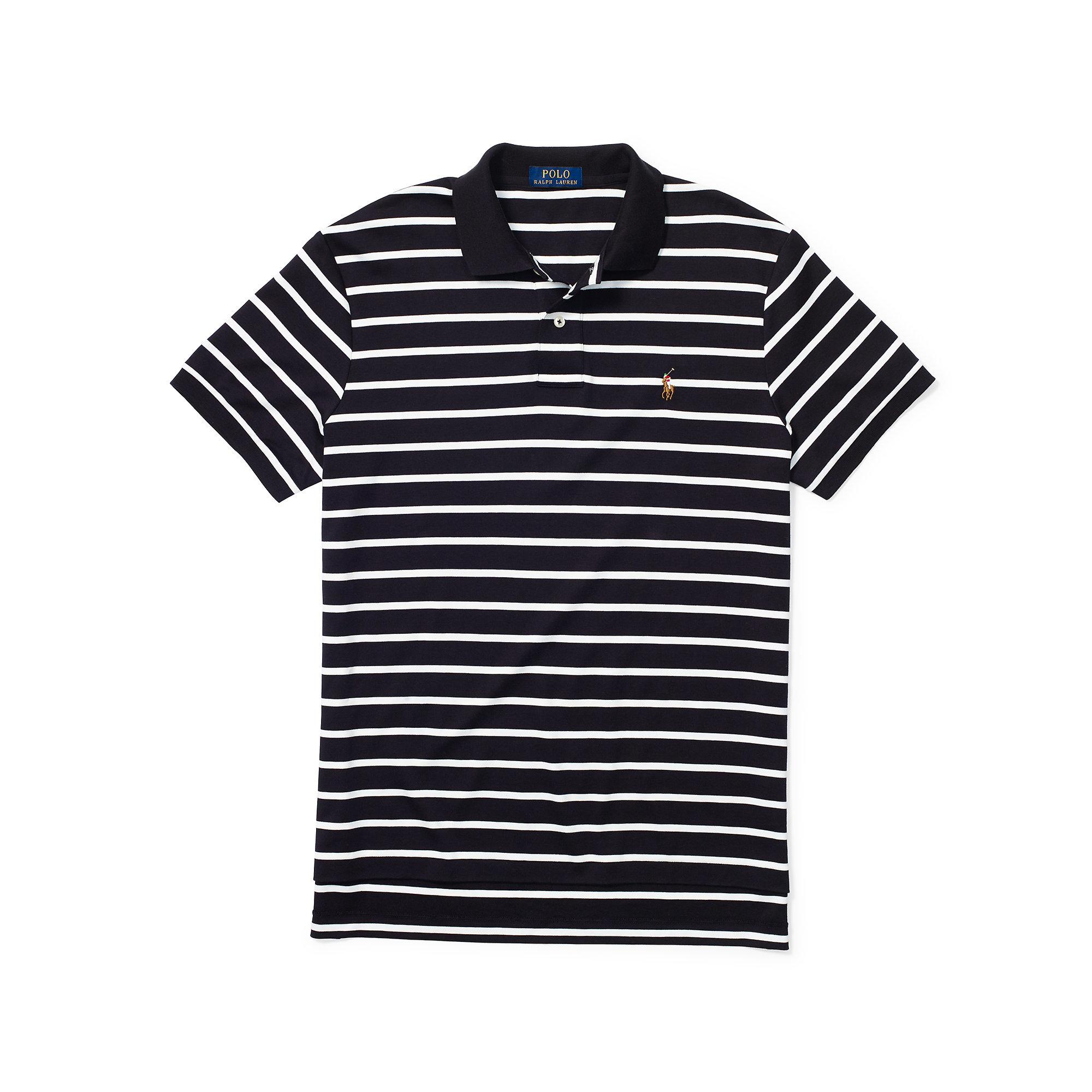 Men Pima Touch Black For Ralph Polo Soft Striped Lauren vmnNOy8w0