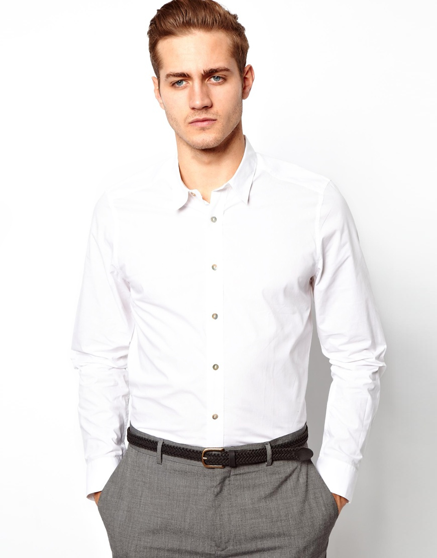 Asos smart shirt in long sleeve with soft handle cotton in for Soft cotton long sleeve shirts