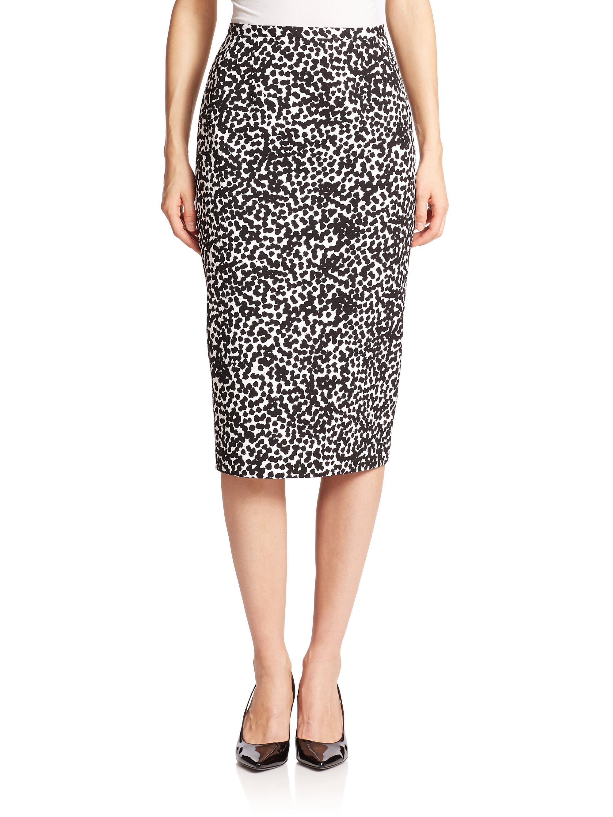 michael kors abstract dot pencil skirt in black lyst