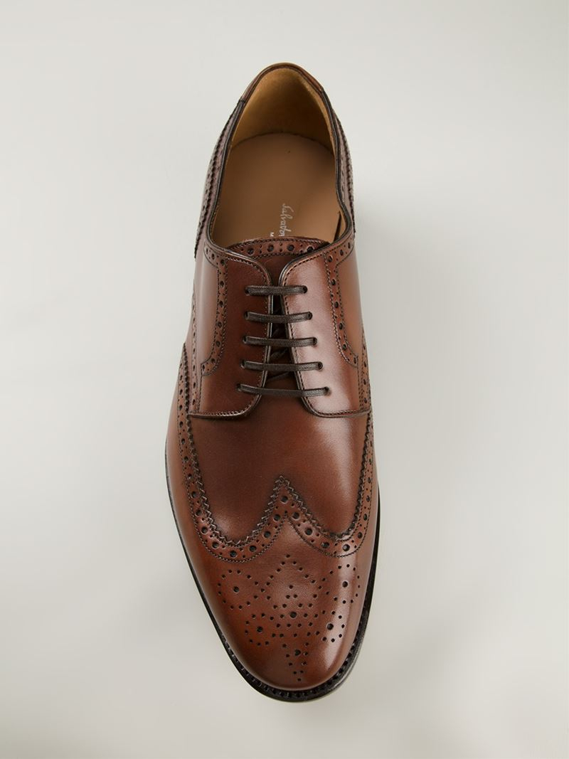 Ferragamo Brogue Detailed Oxford Shoes In Brown For Men Lyst