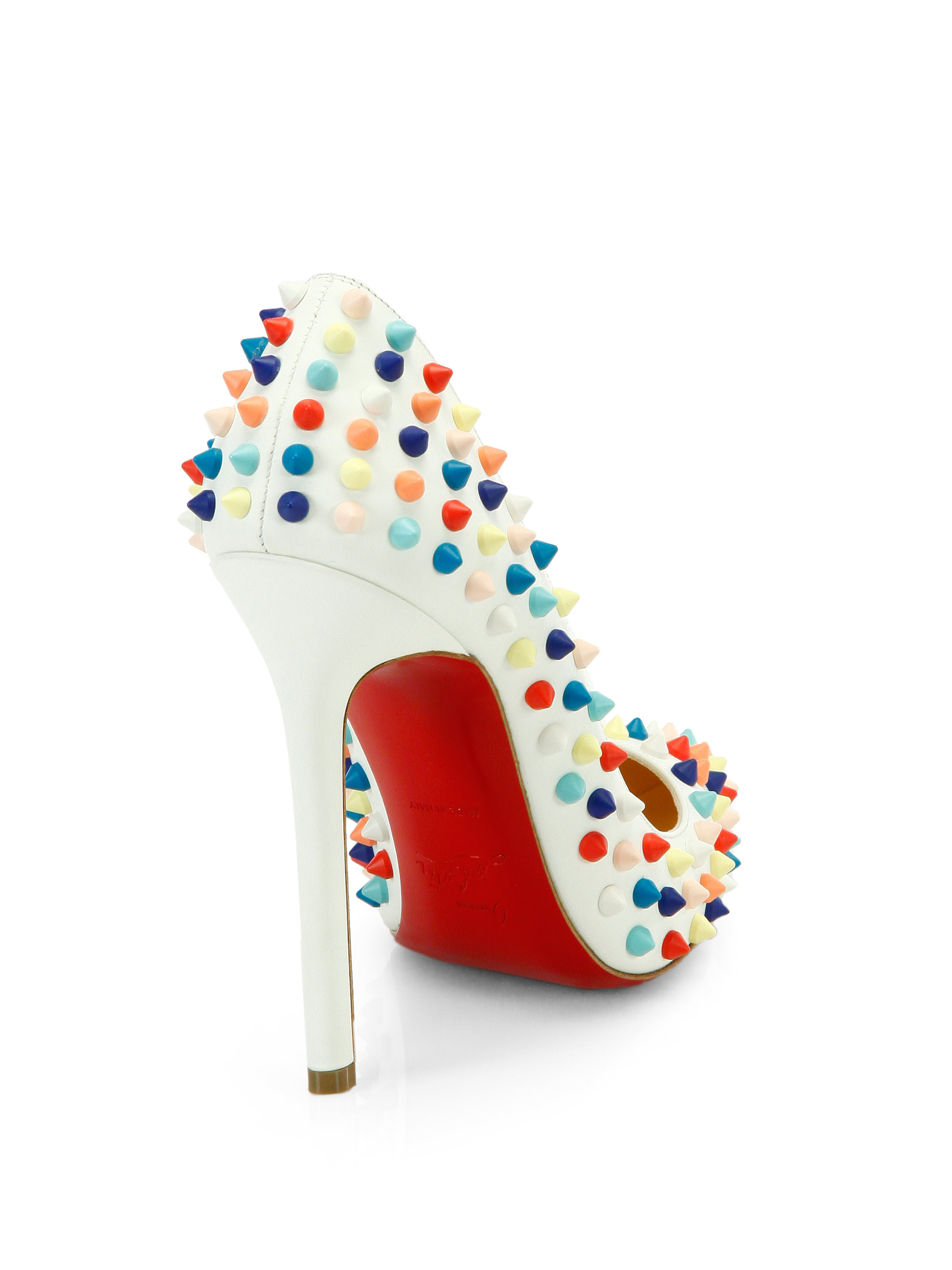 Lyst - Christian Louboutin Pigalle 120 Multicolor Spiked Leather ... fc05769d710e