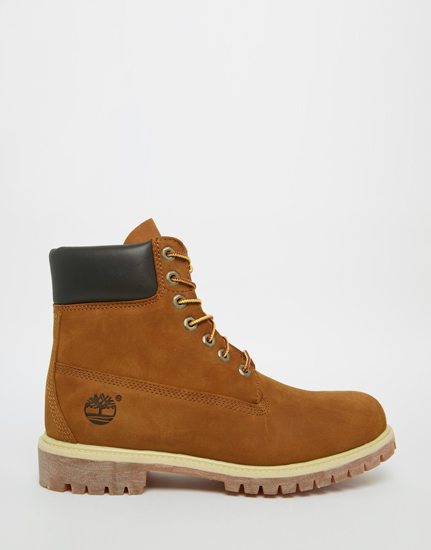 timberland icon 6 inch leather premium boots in brown for
