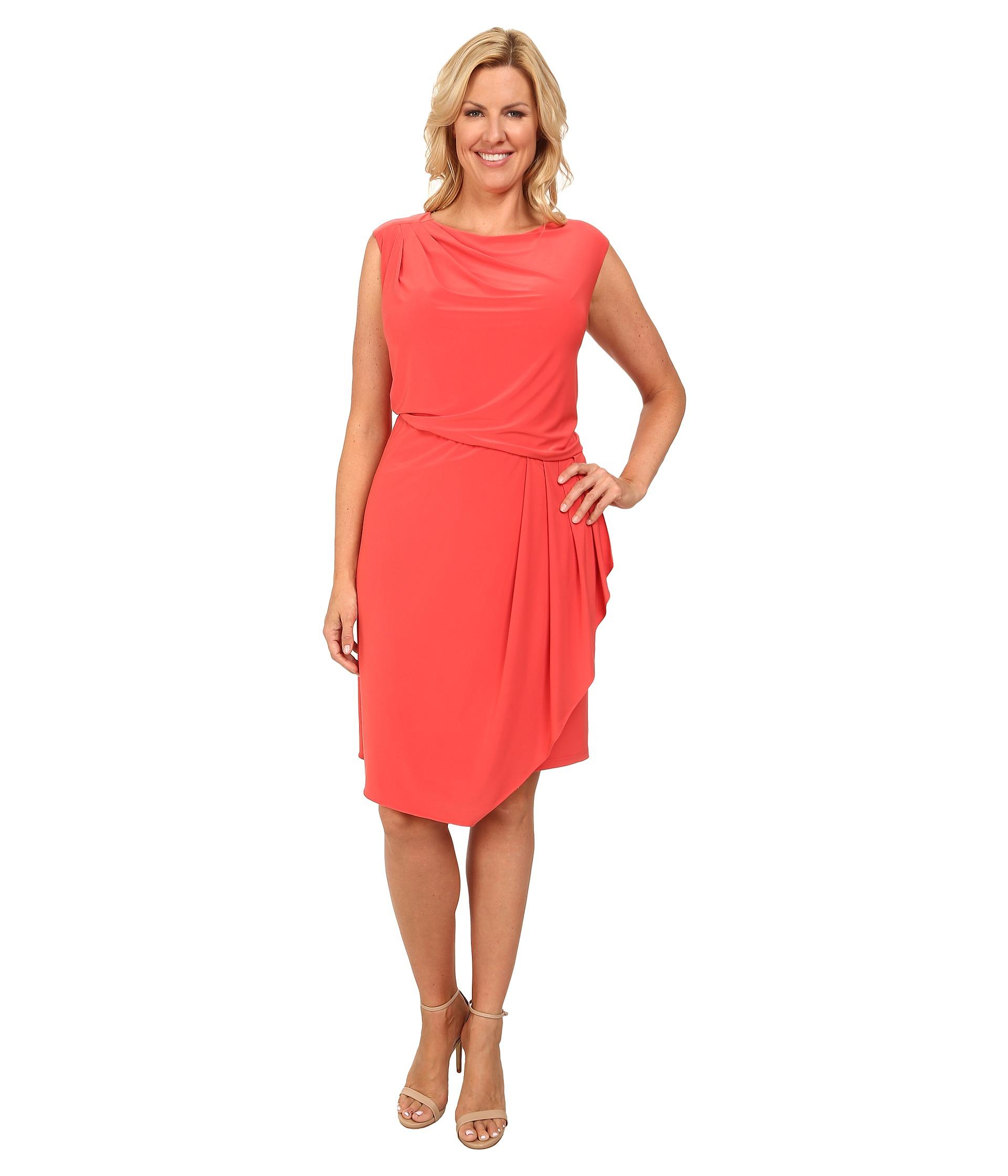 Asymmetric Drape Dress: Adrianna Papell Plus Size Asymmetrical Drape Jersey Dress
