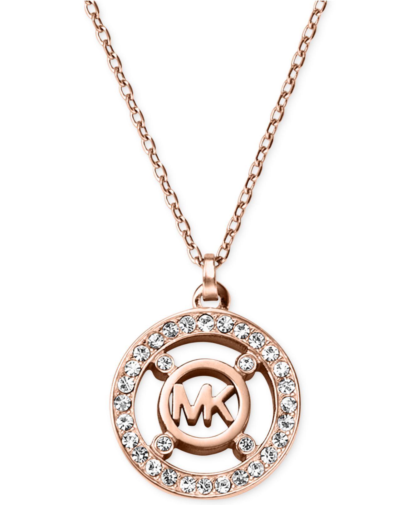 Michael Kors Crystal Logo Pendant Necklace A Macy S