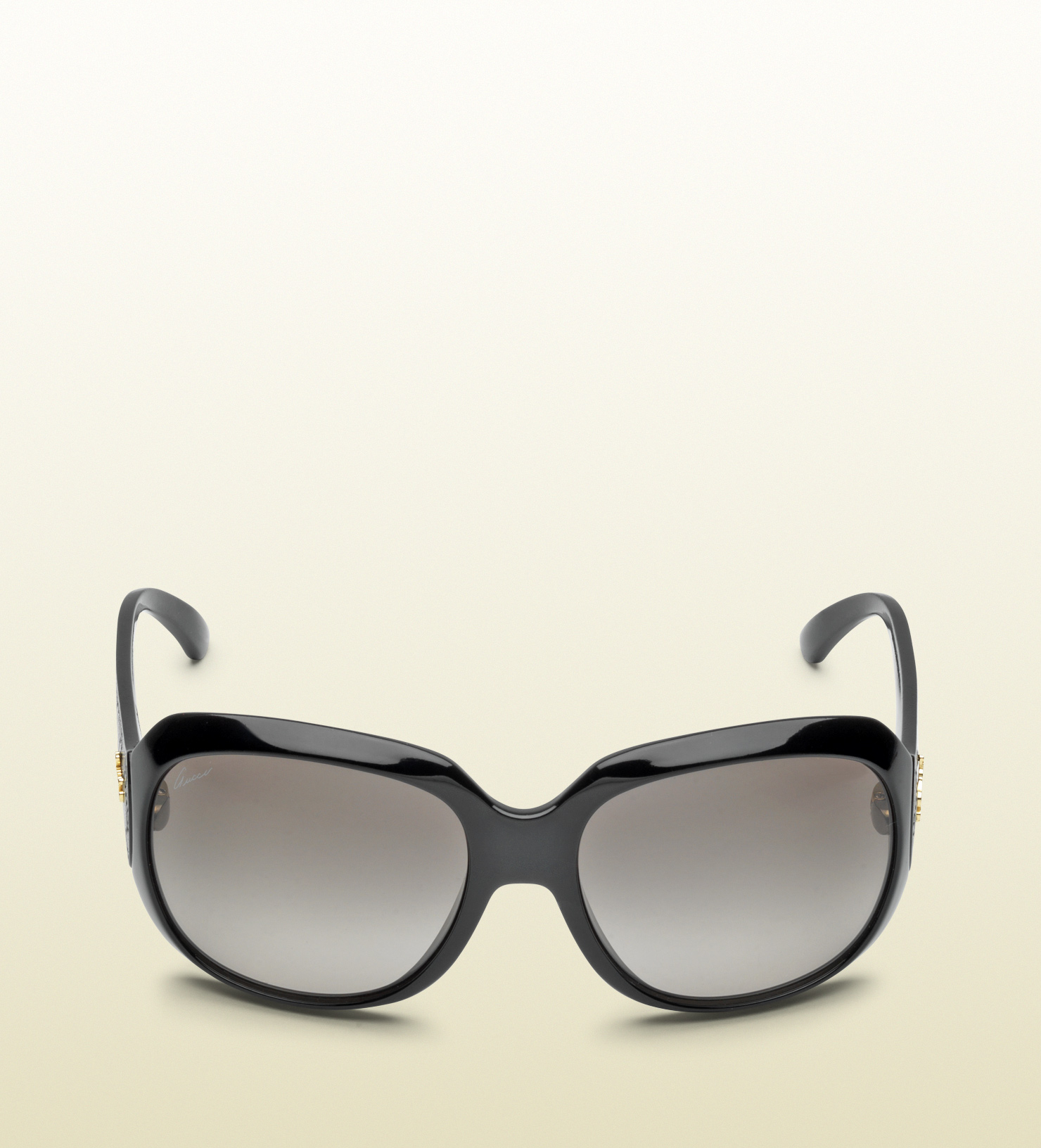 14ec608d92cc Lyst - Gucci Womens Oversized Sunglasses with Leather Detail in Black