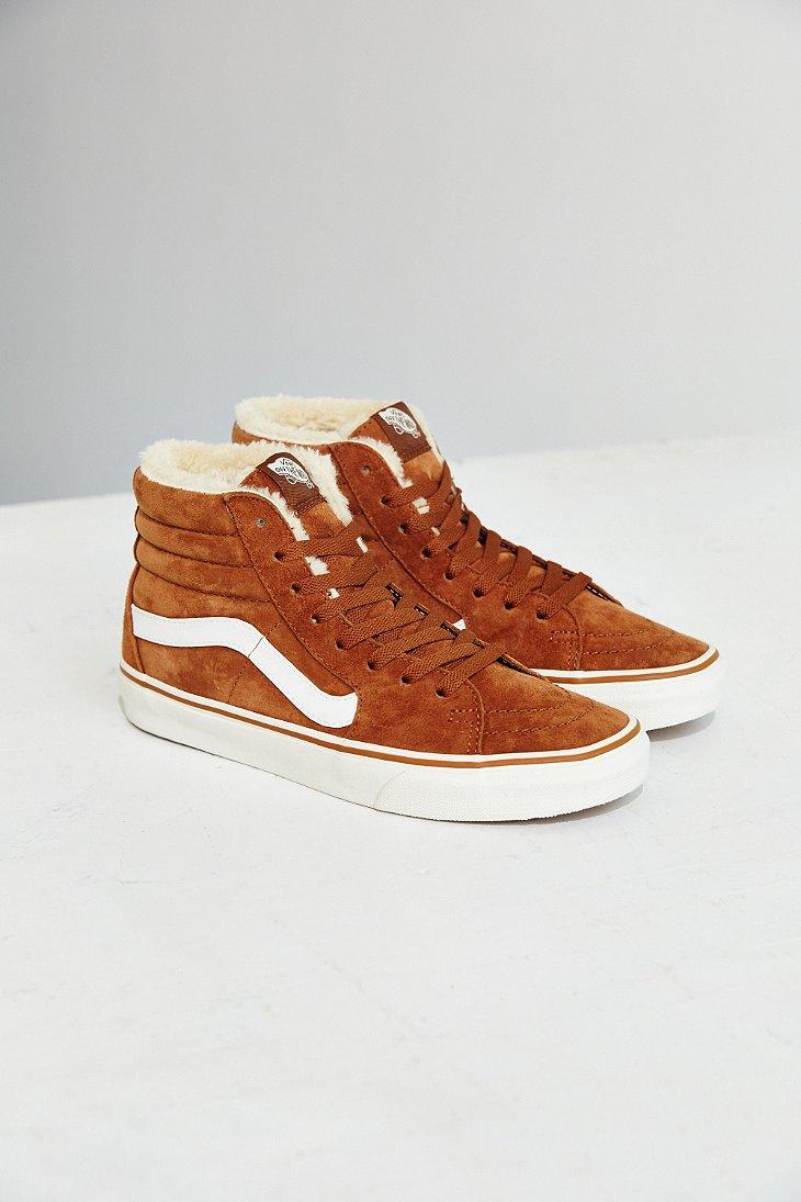 4682f1dd9d Lyst - Vans Sk8-hi Fleece Sneaker in Brown