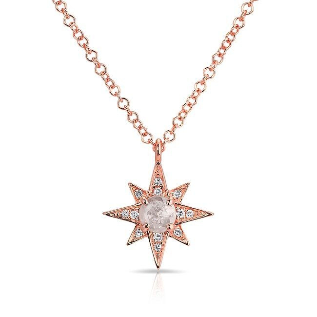 Anne Sisteron 14kt Rose Gold Diamond North Star Necklace