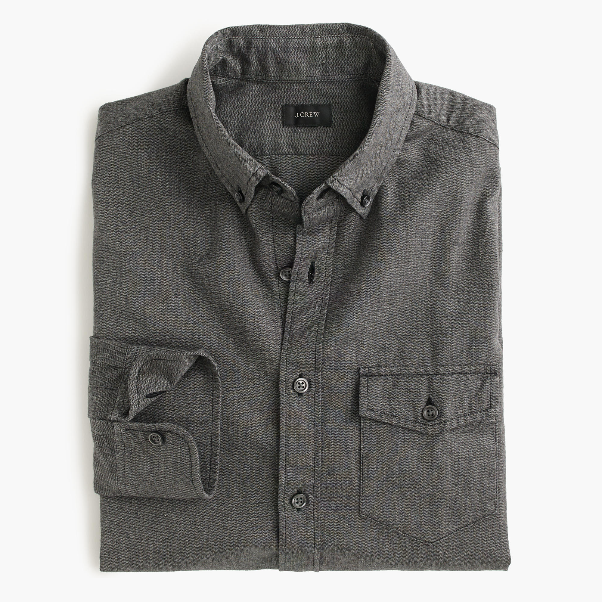 slim brushed twill shirt in herringbone in gray for