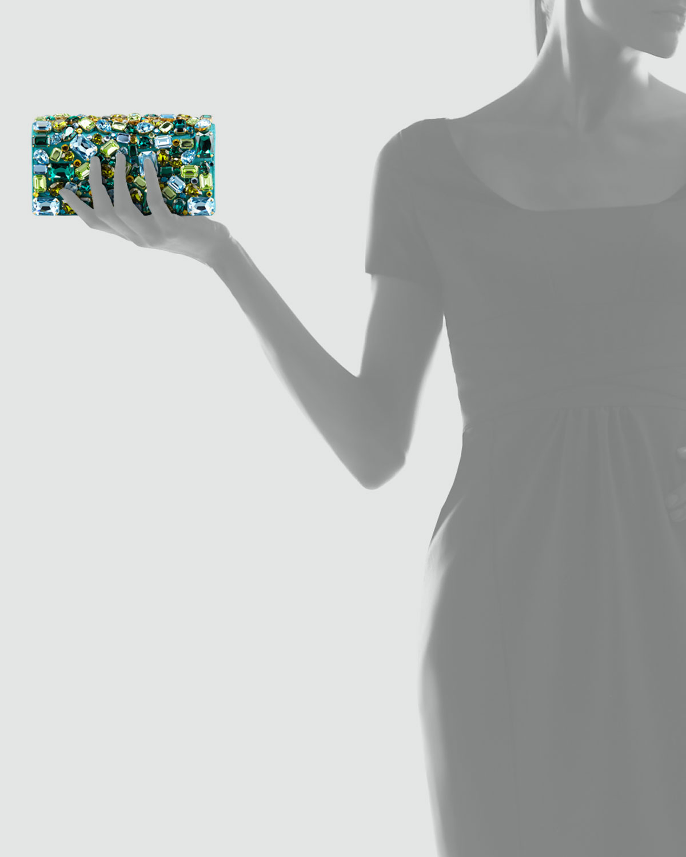 Prada Jeweled Satin Clutch Bag in Green (turquoise) | Lyst