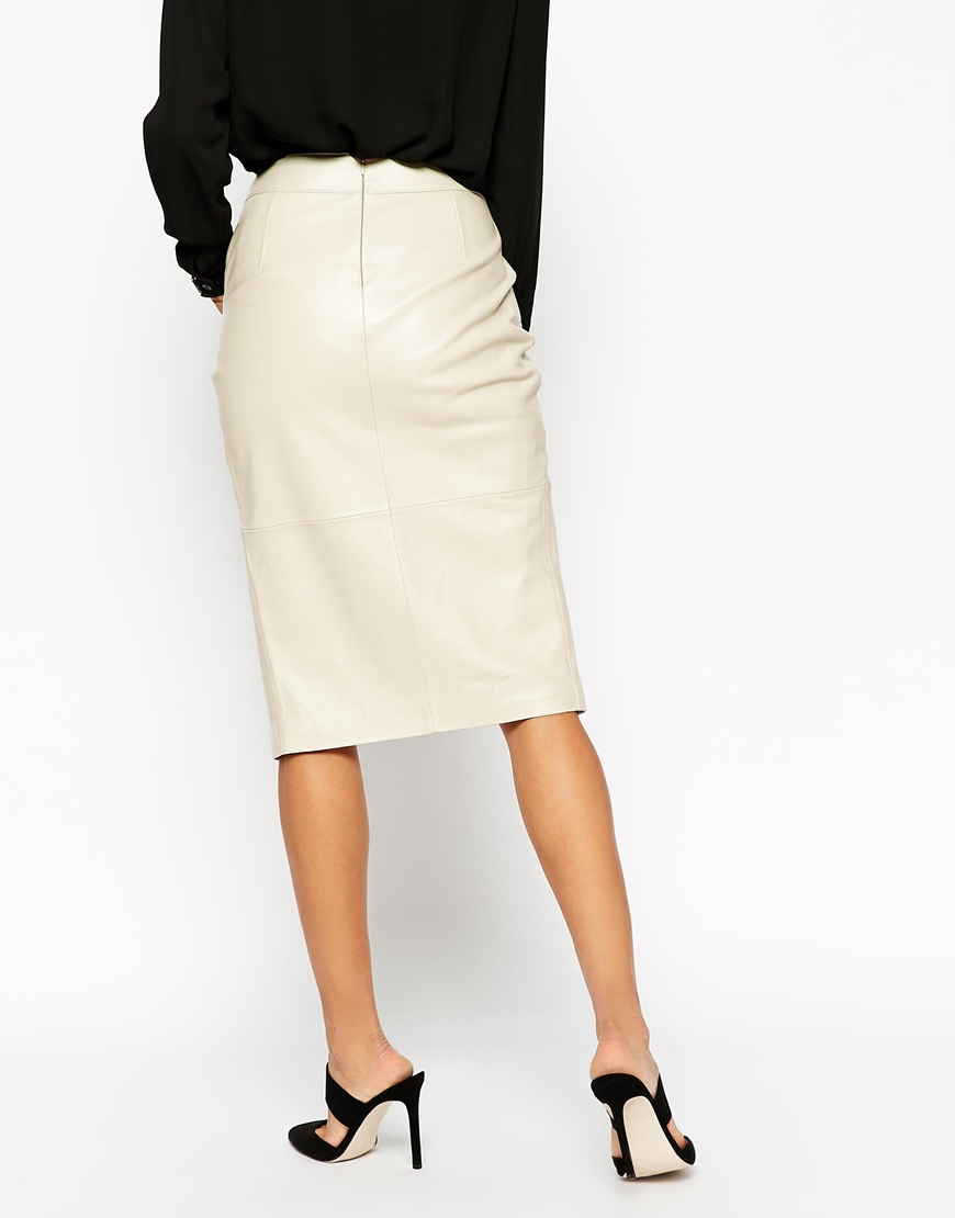 asos pencil skirt in leather with wrap front and pocket