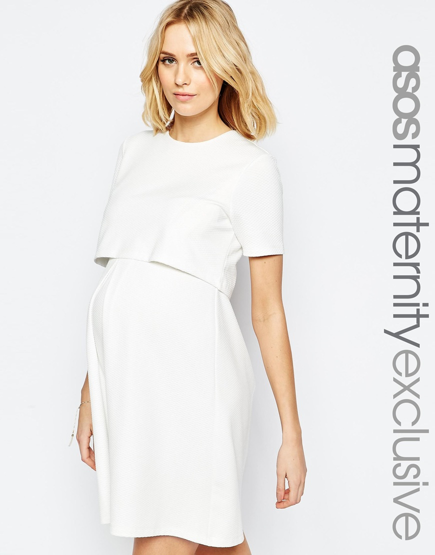 55fb339772b31 ASOS Maternity Nursing Textured Skater Dress With Double Layer in ...