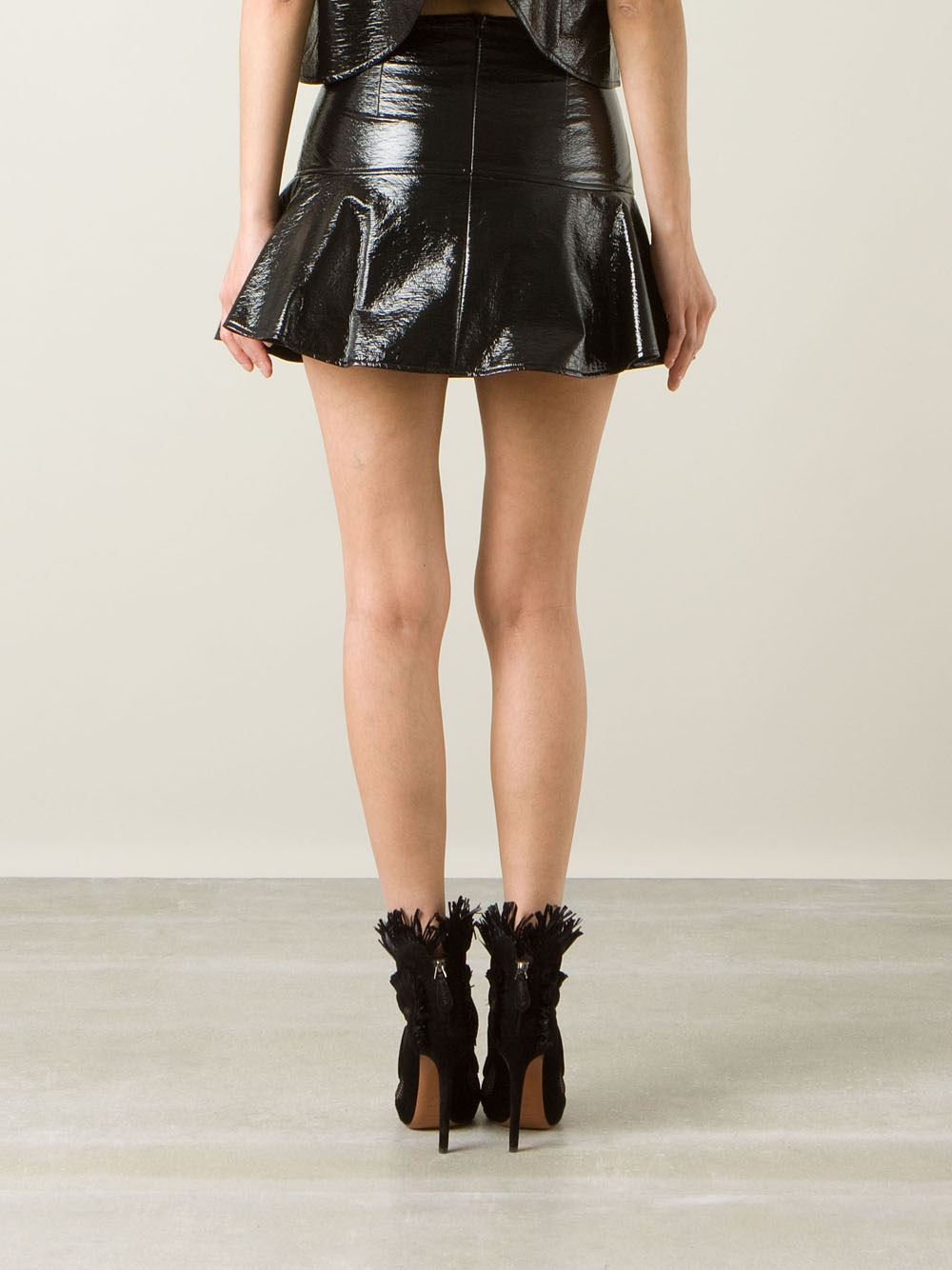 Wanda Nylon Shiny Miniskirt In Black Lyst