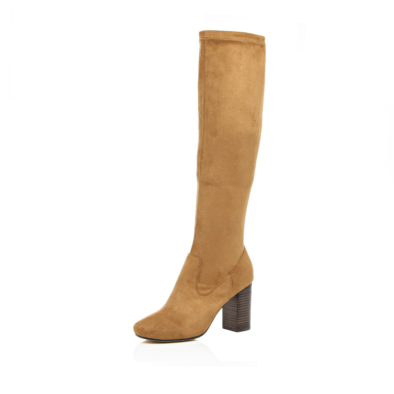 river island light brown knee high heeled boots in brown