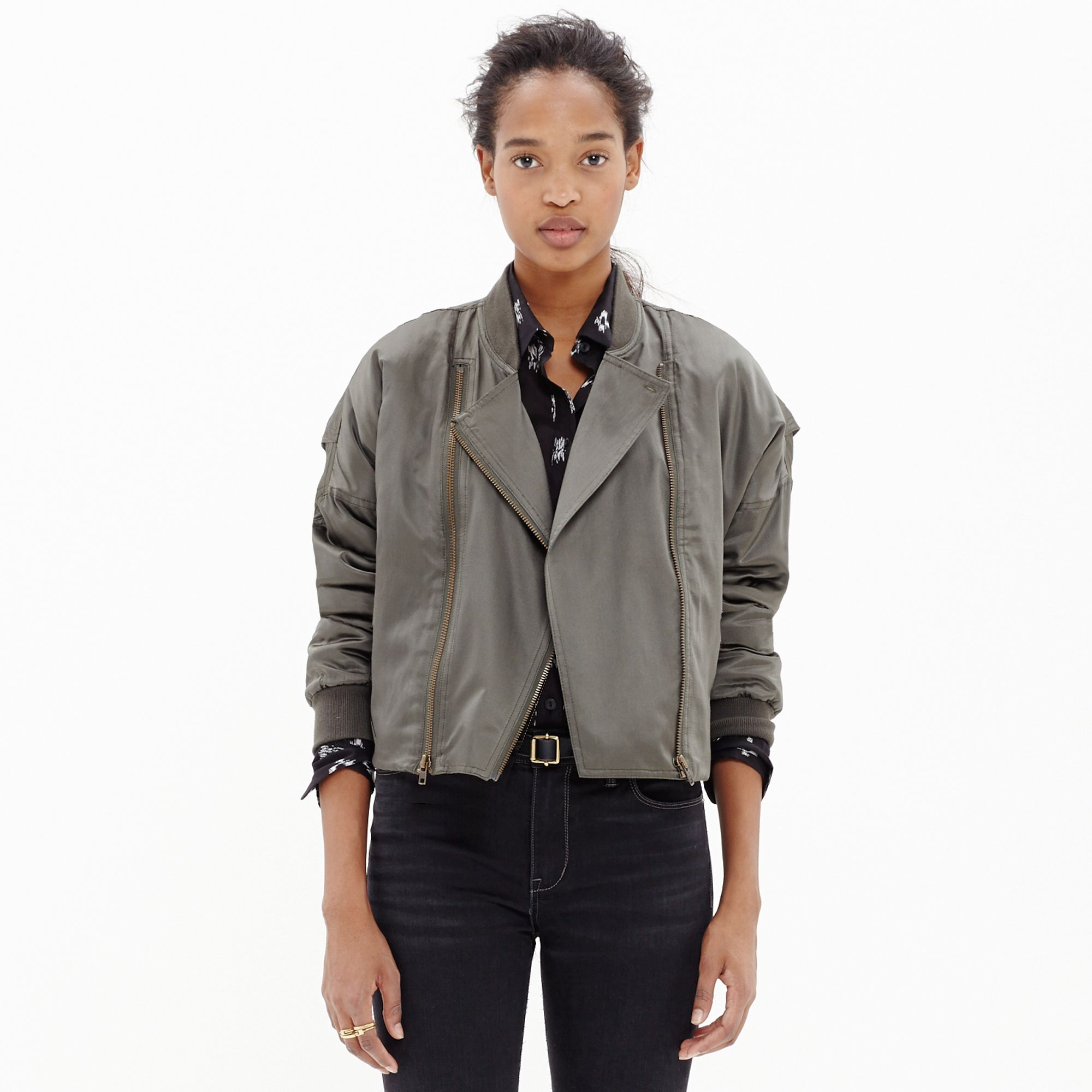 Madewell Biker Bomber Jacket in Green | Lyst