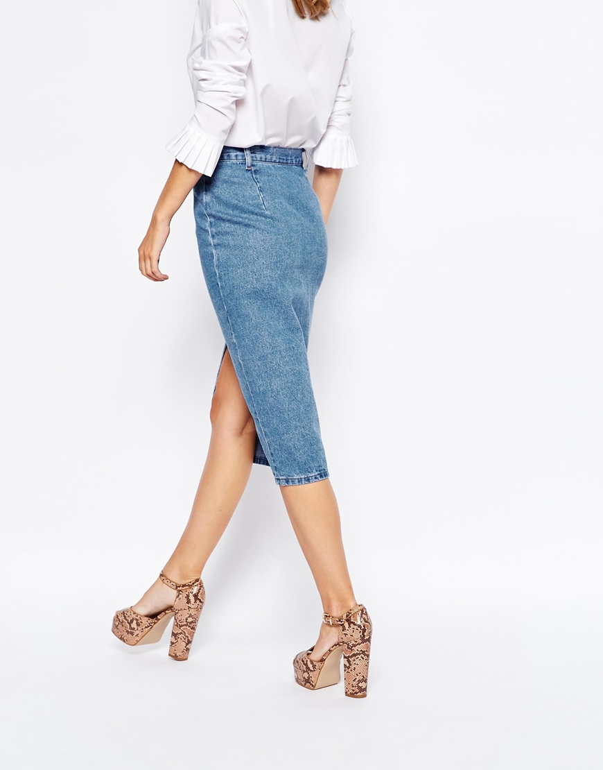 Lost ink Midi Denim Skirt With Font Split in Blue | Lyst