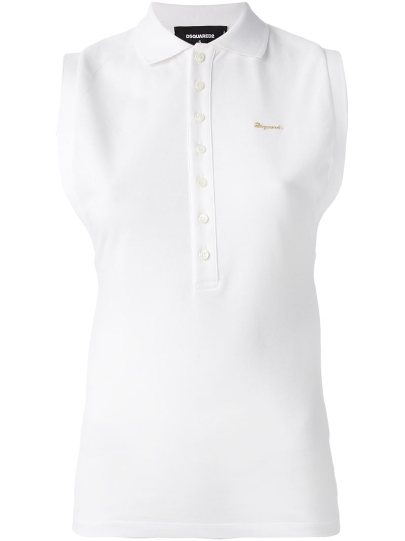 Lyst Dsquared Sleeveless Polo Shirt In White