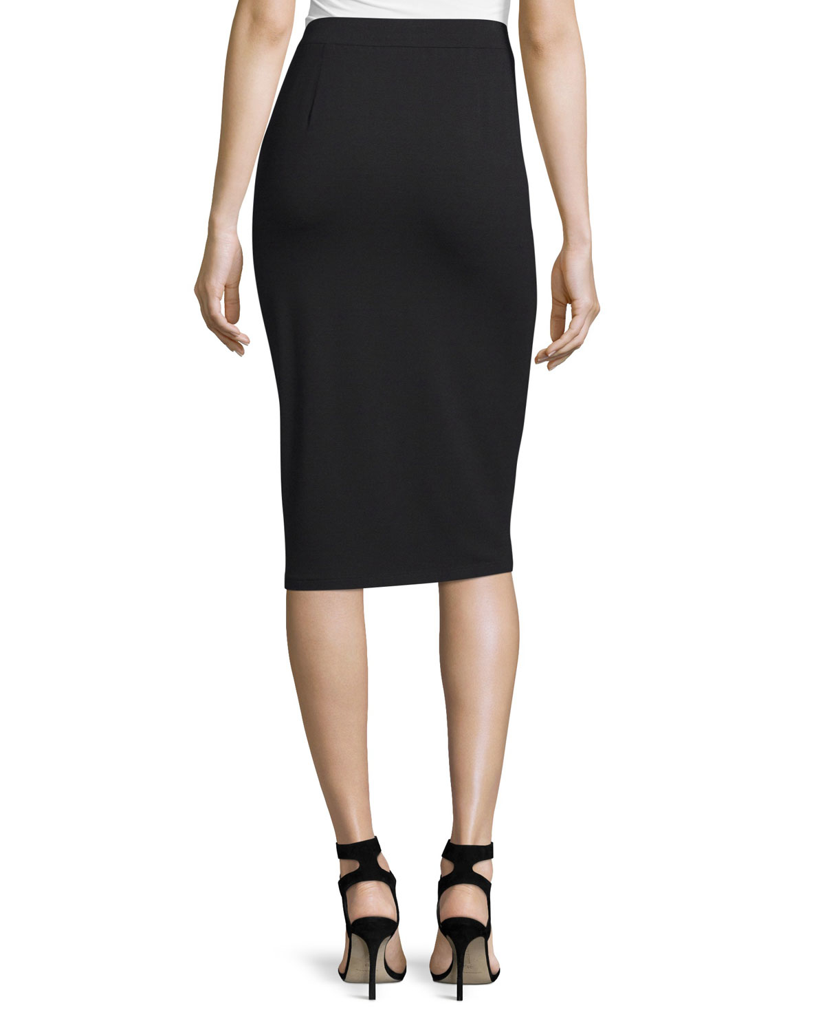 eileen fisher calf length pencil skirt in metallic lyst