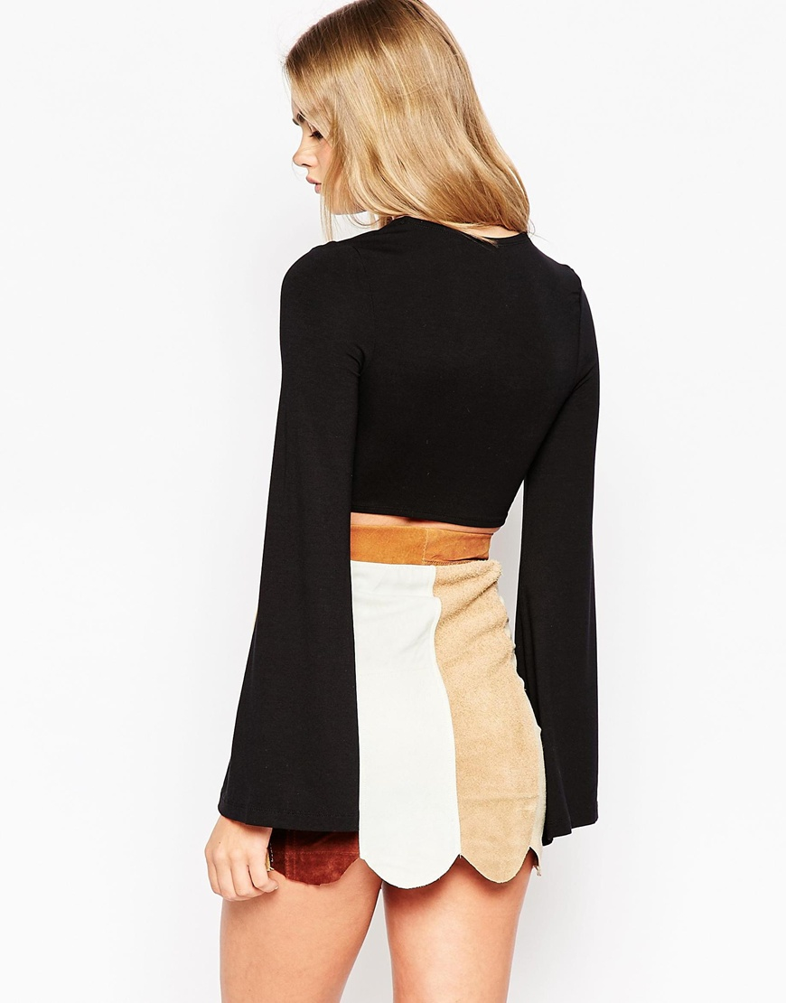 Lyst Asos 70s Crop Top With Tie Front And Bell Sleeve In