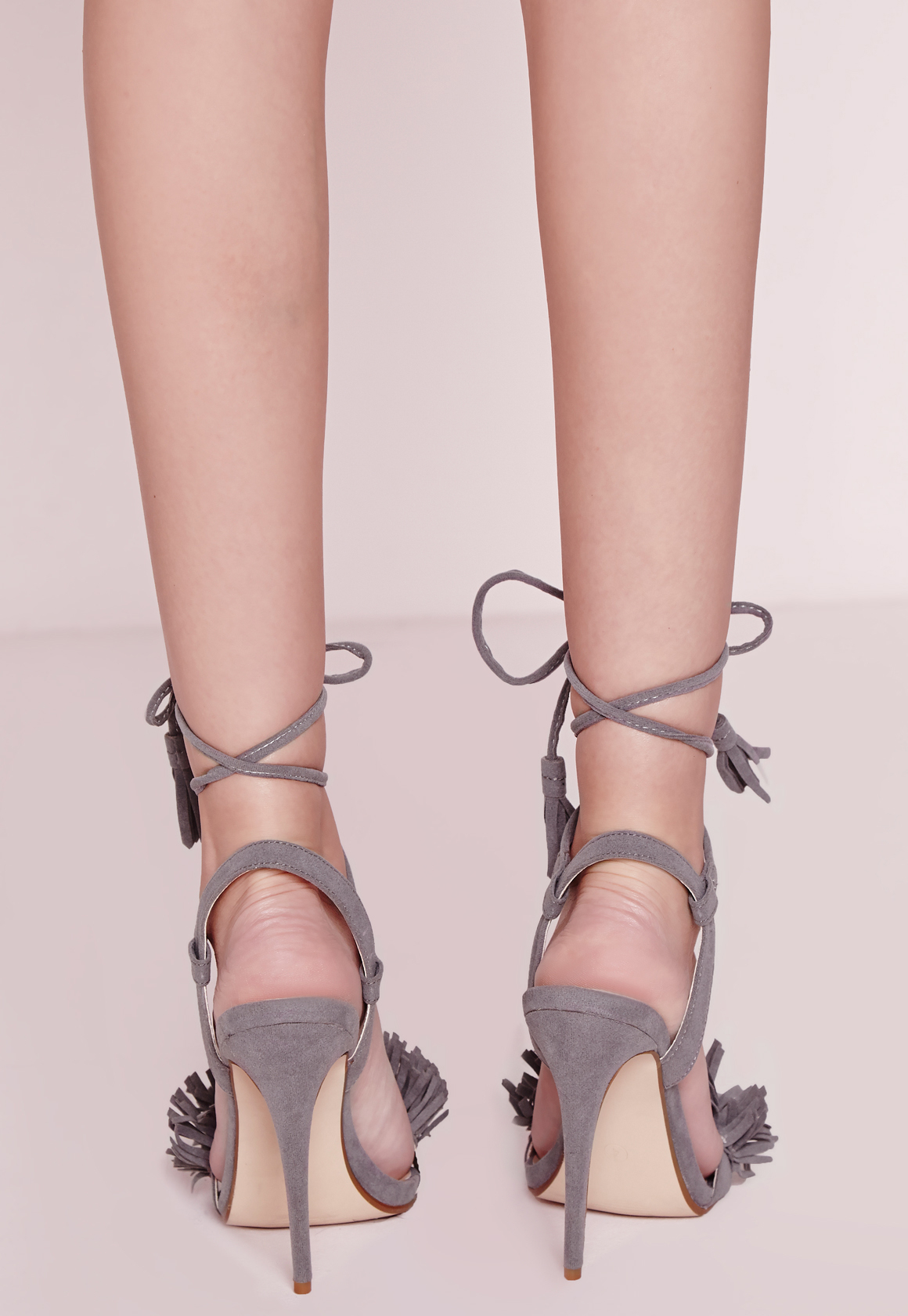 3398fae8b25 Lyst - Missguided Tassel Detail Barely There Heeled Sandals Grey in Gray