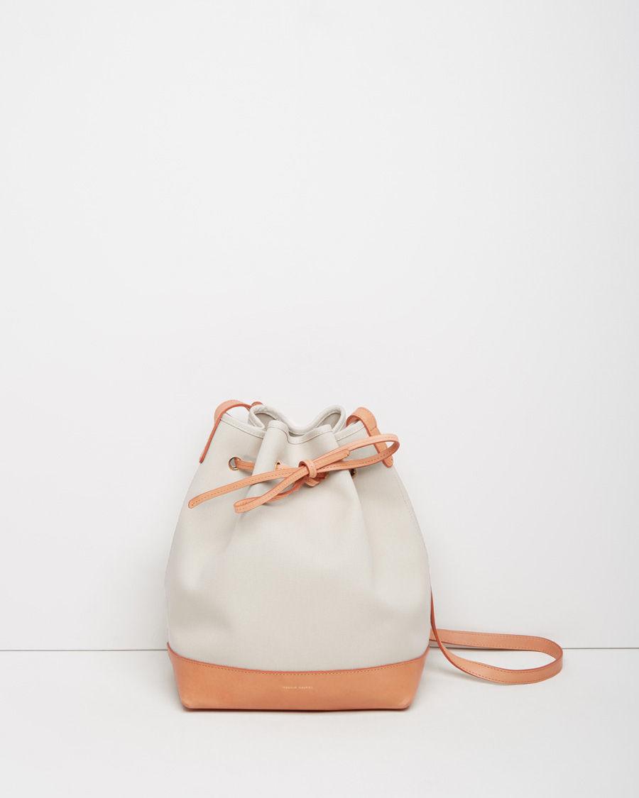 mansur gavriel canvas bucket bag in white lyst. Black Bedroom Furniture Sets. Home Design Ideas