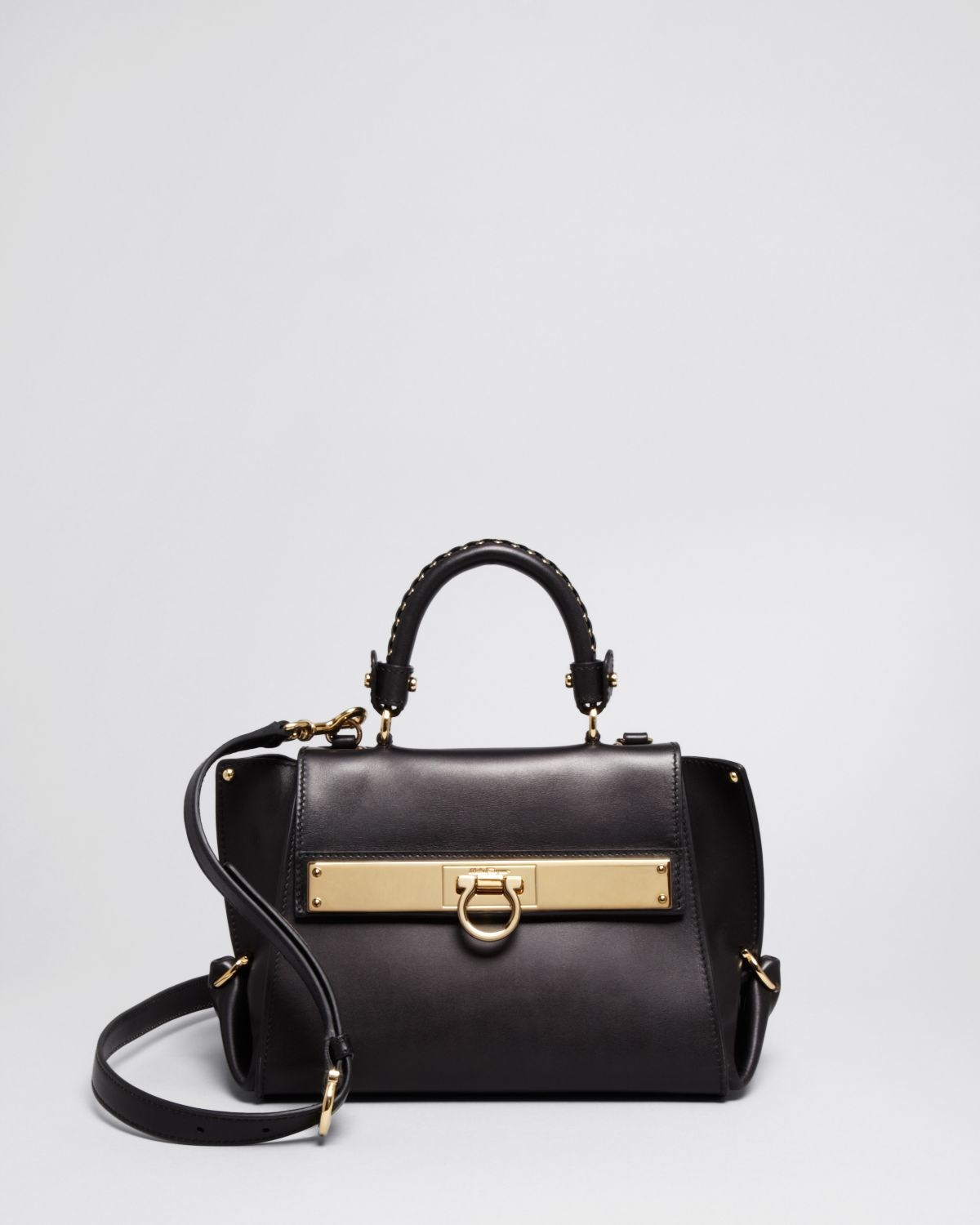 9f0ea11f49cc Lyst - Ferragamo Crossbody - Metal Plate Grommet Mini Sofia in Black