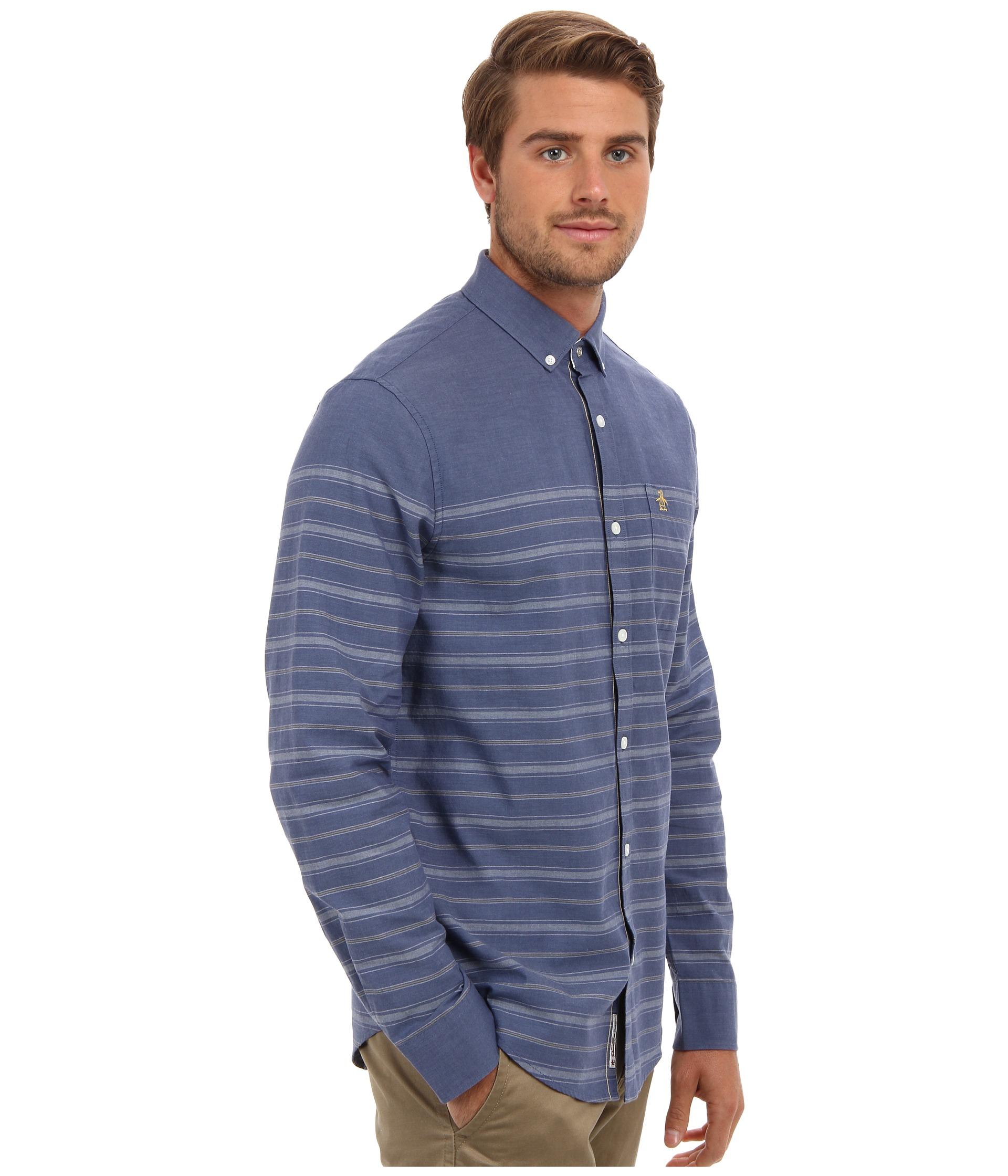 Original penguin heritage fit long sleeve horizontal for Horizontal striped dress shirts men