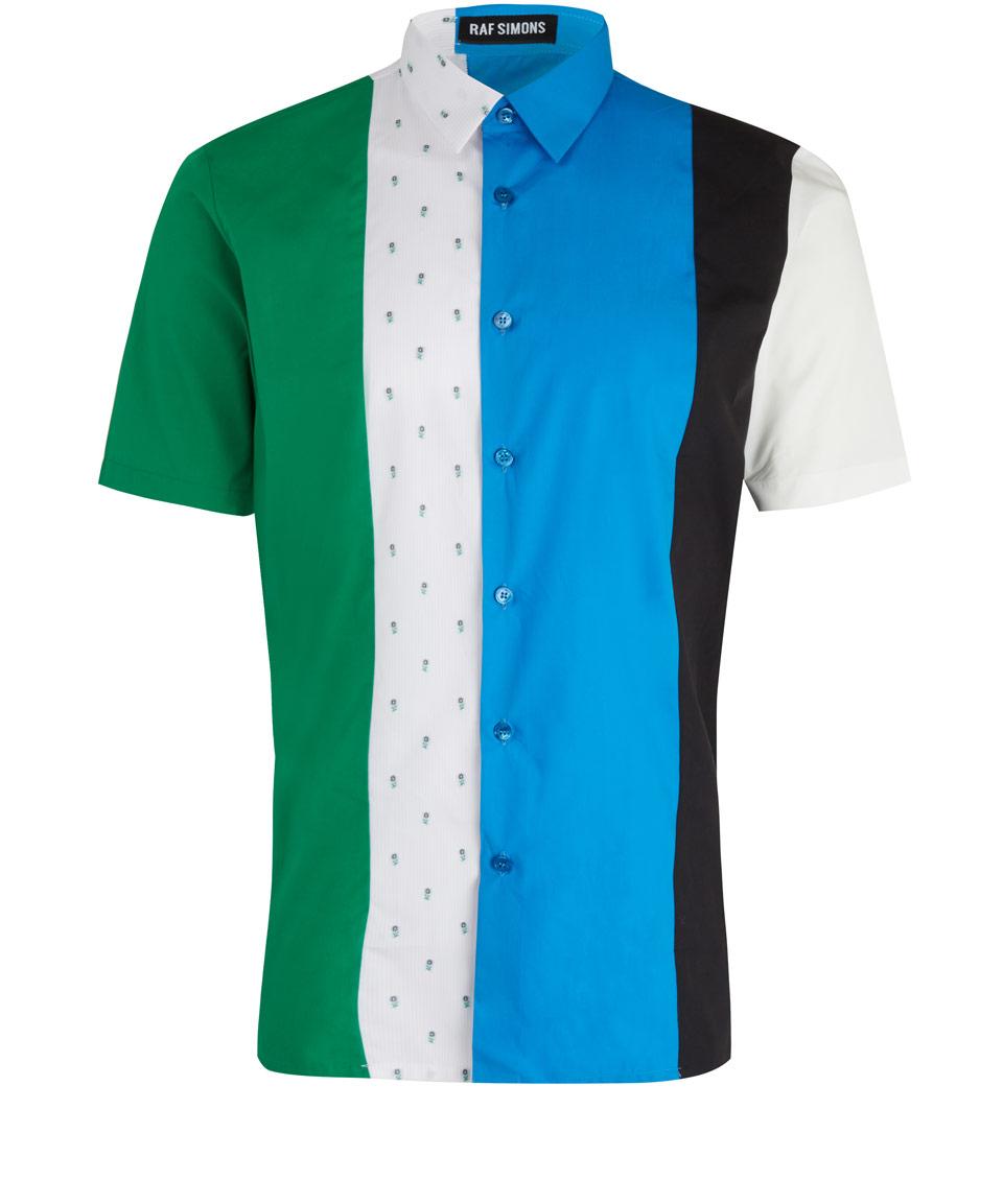 raf simons blue multi panel short sleeve shirt in blue for men lyst. Black Bedroom Furniture Sets. Home Design Ideas
