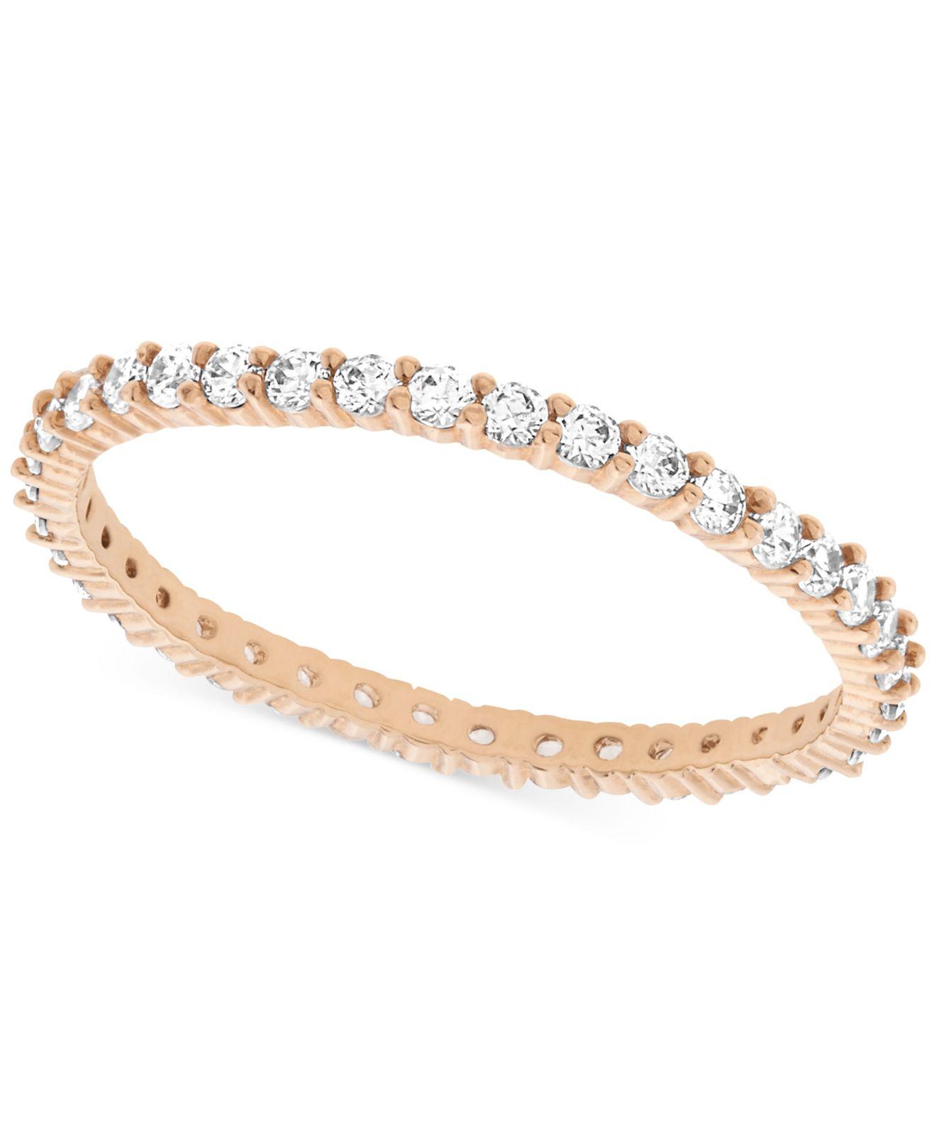 swarovski rose gold tone crystal ring in metallic lyst. Black Bedroom Furniture Sets. Home Design Ideas
